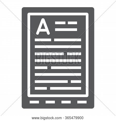 E Book Reader Glyph Icon, Education And School, Digital Book Sign Vector Graphics, A Solid Icon On A
