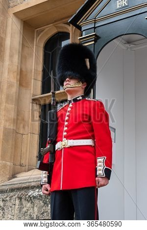 London, Uk - April, 2019: English Guard Soldier. Solider Guard Of Buckingham Palace, London England.
