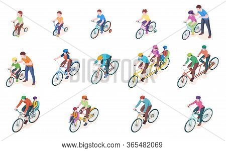 Set Of Vector Man And Woman Bicyclist With Kid Or Child. Bicycle Transport. Triple And Double, Duo,