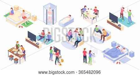 Couple Daily Life Isometric Vector Design, Man And Woman Home Routine And Everyday Leisure Activity.