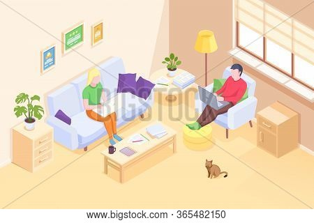 Couple Working Online Home, Freelancer Man And Woman With Computer Laptops, Vector Isometric Illustr