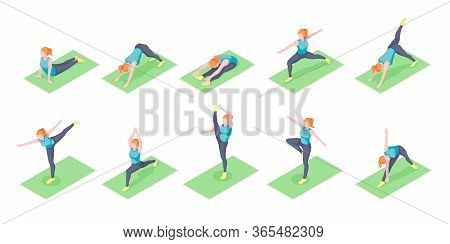 Woman Or Girl Yoga Poses Exercise On Yoga Mat, Vector Isometric Icons. Woman Body Balance And Stretc