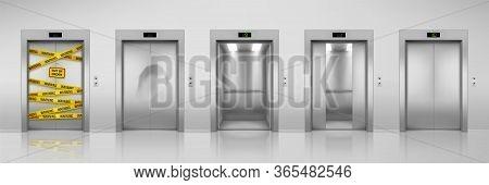 Elevators, Vector Realistic Design With Closed, Open, Half Closed And Dent Broken Doors. Chrome Meta