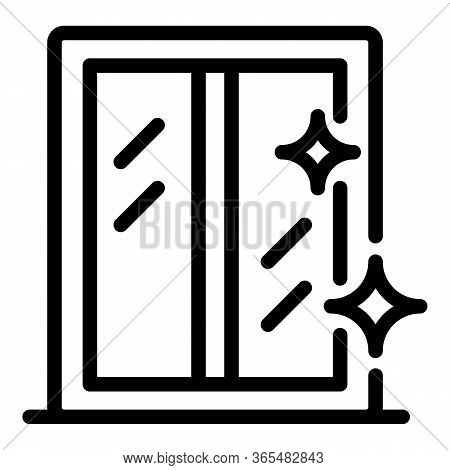 Sparkling Window Icon. Outline Sparkling Window Vector Icon For Web Design Isolated On White Backgro