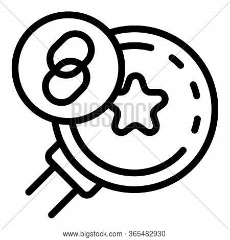 Link Star And Magnifier Icon. Outline Link Star And Magnifier Vector Icon For Web Design Isolated On