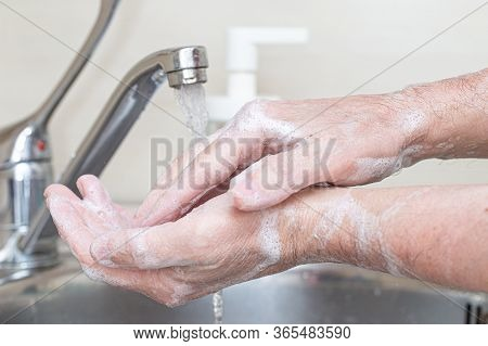Washing Hands Rubbing With Soap Man For Corona Virus Prevention, Hygiene To Stop Spreading Coronavir