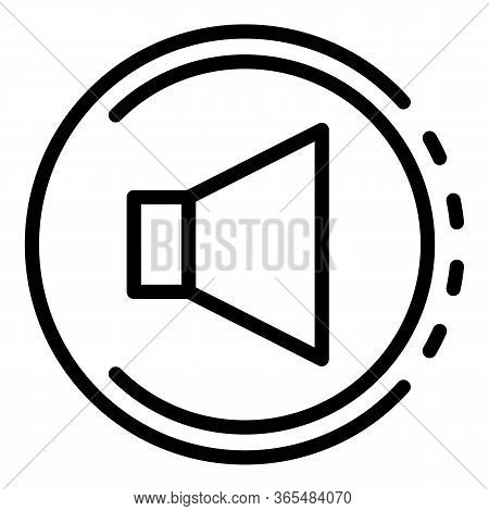 Volume Sign In A Circle Icon. Outline Volume Sign In A Circle Vector Icon For Web Design Isolated On