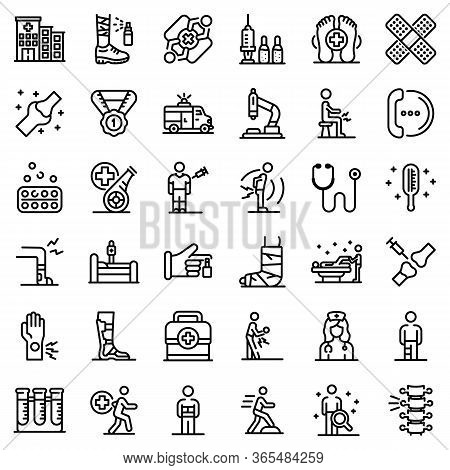 Sports Doctor Icons Set. Outline Set Of Sports Doctor Vector Icons For Web Design Isolated On White