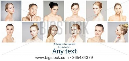 Female Portraits In Collage. Faces Of Young And Beautiful Women. Skin Care, Face Lifting, Cosmetics