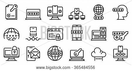 Multi-factor Authentication Icons Set. Outline Set Of Multi-factor Authentication Vector Icons For W
