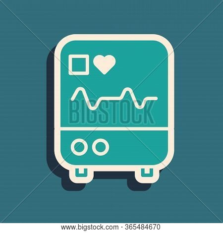 Green Computer Monitor With Cardiogram Icon Isolated On Green Background. Monitoring Icon. Ecg Monit