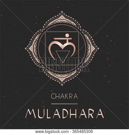 Vector Illustration With Gold Symbol Chakra Muladhara - Root Chakra On Dark Background. Round Mandal