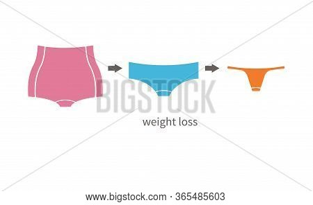 Creative Concept Of Weight Loss. Idea Of Losing Weight From Fat Body To Slim One. Comparison Of Wome