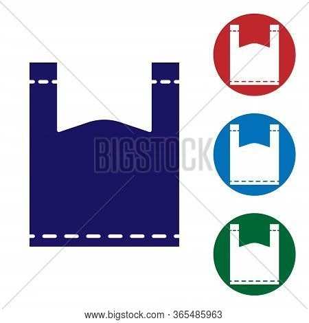 Blue Plastic Bag Icon Isolated On White Background. Disposable Cellophane And Polythene Package Proh
