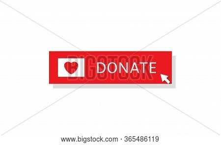 Voluntary And Donation Concept. Donate Button Icon. Red Button With Red Heart Symbol Isolated