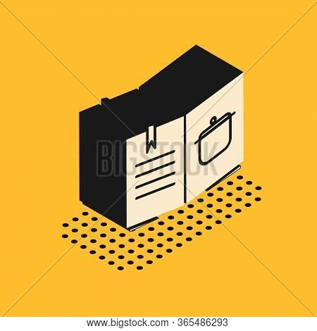 Isometric Cookbook Icon Isolated On Yellow Background. Cooking Book Icon. Recipe Book. Fork And Knif
