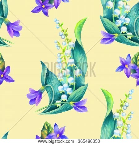 Spring Flowers: Snowdrop, May-lilly, Viola  Seamless Pattern, Hand Paint Watercolor Illustration.