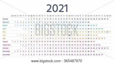 2021 Calendar Linear. Vector. Yearly Calender Planner. Schedule Template 2021 Year In Simple Style W