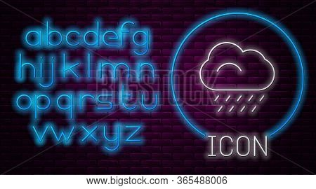 Glowing Neon Line Cloud With Rain Icon Isolated On Brick Wall Background. Rain Cloud Precipitation W