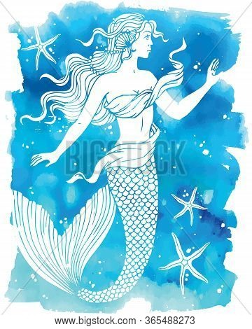 Beatiful Mermaid Outline Vector Hand Drawn Illustration On Watercolor Background.