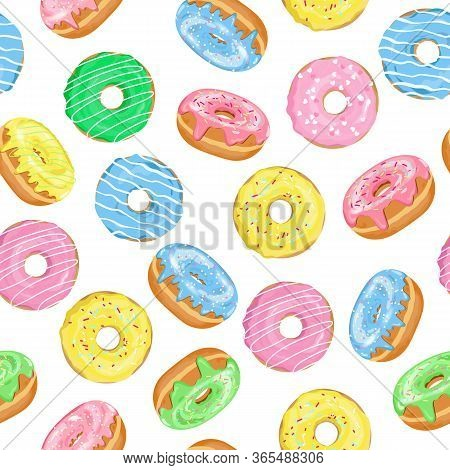 Vector Seamless Pattern Of Doughnuts With Blue, Pink, Green, Yellow Glaze And Sugar Icing On White B