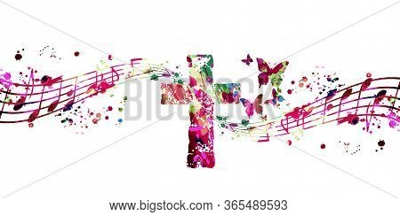 Colorful Christian Cross With Music Notes Isolated Vector Illustration. Religion Themed Background.