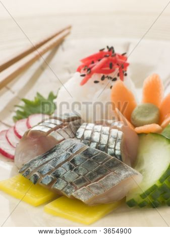 Sashimi Of Mackerel With Pickled Daikon Salad And Vinegar Rice