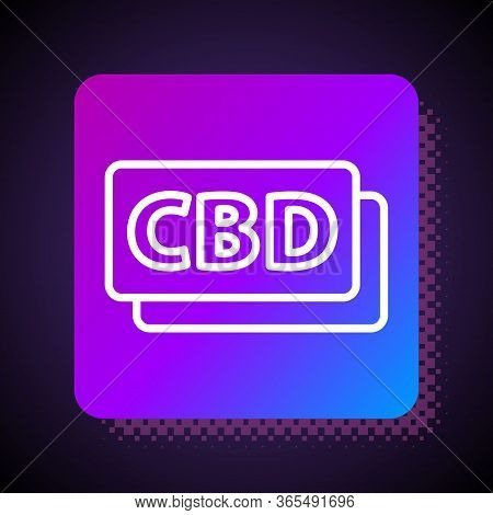 White Line Cannabis Molecule Icon Isolated On Black Background. Cannabidiol Molecular Structures, Th
