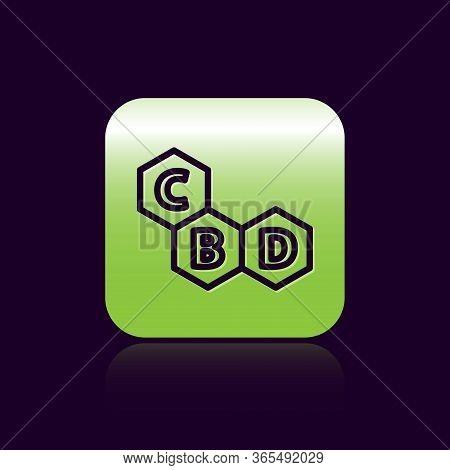 Black Line Cannabis Molecule Icon Isolated On Black Background. Cannabidiol Molecular Structures, Th
