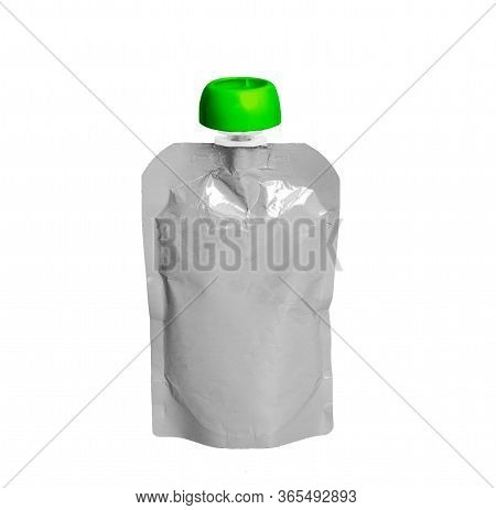 White Empty Plastic Doy Pack With Spout And Round Green Lid, For Baby Food, Fruit Puree, Snack On Th