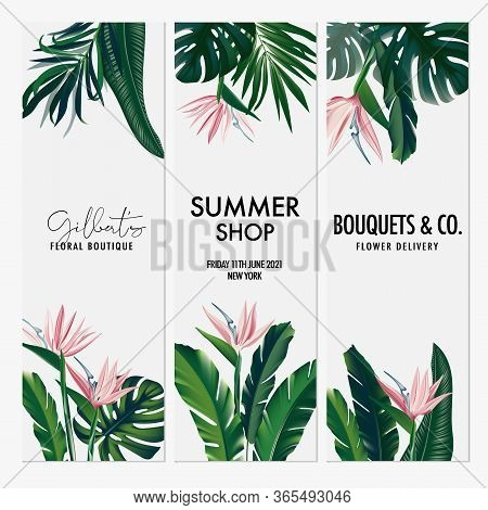 Vector Vertical Set Wedding Invitation Card Set With Bird Of Paradise Tropical Flowers And Leaves. S