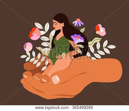 Man Hands Holding Pregnant Woman And Flowers. Spring Plants And Long Hair Pregnant Woman Sitting. Is