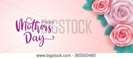 Rose Flowers With Different Colors, And Leaves On A Pink Background. Creative Concept Of Mother's Da