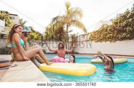 Group Happy Friends Enjoying Summer Day In Swimming Pool With Inflatable - Young Multiracial People