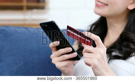 Online Phone Payment By Credit Card, Close Up Of Woman Hand Holding Mobile Phone To Make Digital Mon