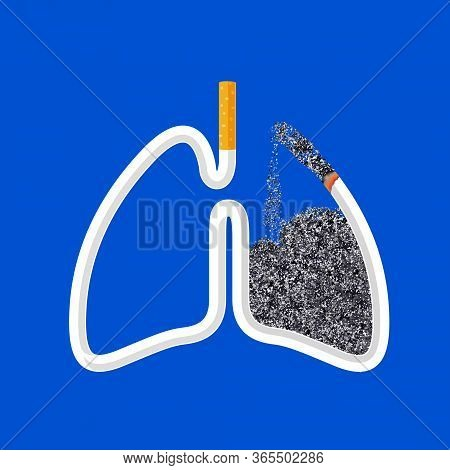 Cigarette In Abstract Human Lung. Stop Smoking Concept. World No Tobacco Day. Smoking Is Harmful To