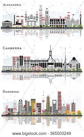 Alexandria Egypt, Shanghai China and Canberra Australia City Skylines Set with Gray Buildings and Reflections Isolated on White. Business Travel and Tourism Concept with Modern Architecture.
