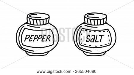 Hand-drawn Set Of Salt And Pepper Isolated On A White Background In A Doodle Style. Seasonings For C