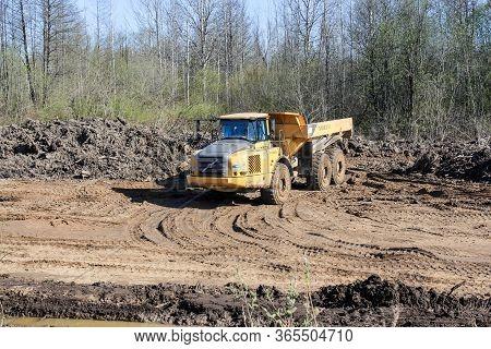 Kirishi, Russia - 8 May, Three Axle Truck Volvo, 8 May, 2020. Start Of Construction Of A Motor Bridg