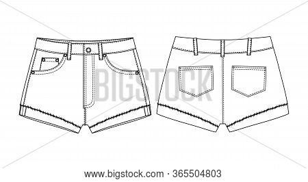 Short Pants, Flat Sketch Template, Vector, Apparel Template. Technical Sketch Of Shorts. Fashionable