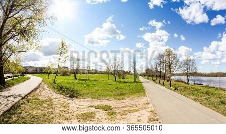 Spring Park On The Banks Of Volkhov. Spring View Of The Province On A Sunny Day.