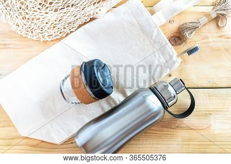 Eco Friendly Shopping Bags, Reusable Coffee Cup, Reusable Water Stainless Bottle, Bamboo Toothbrush