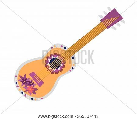 Mexican Guitar Vector Illustration. Drawing Cartoon Sign. Colorful Drawings Traditional Guitar With