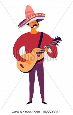 Mexican Musician Playing Guitar Vector Illustration. Drawing Cartoon Man With Mexican Traditional Ha