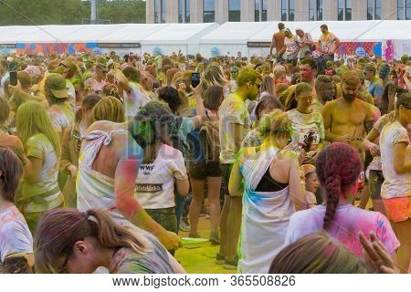 Moscow, Russia - June 2, 2019: Colorful Race Near Sports Complex Luzhniki. The Color Run Is A All-ru