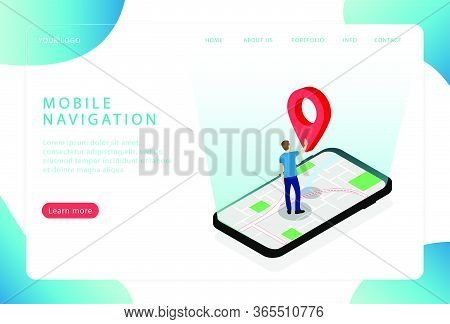 Mobile Navigation. Gps Navigator. Location. Landing Page. Modern Web Pages For Web Sites.