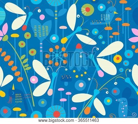 Cute Seamless Pattern Of Bioluminescent Fireflies In Grass At Night Surrounded By Flowers, Birds, Pl