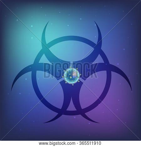 Bio-hazard Health Medical Warning  Symbol Vector Illustration.  Corona-virus 2019-ncov.