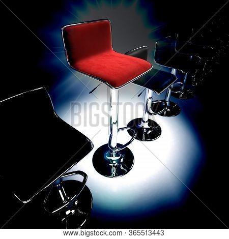 Stylish Bar Stool. Red Stylish Swivel Chair - Isolated On White.