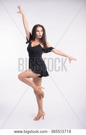 Latina Dance, Strip Dance, Contemporary And Bachata Lady Concept - Woman Dancing Improvisation And M